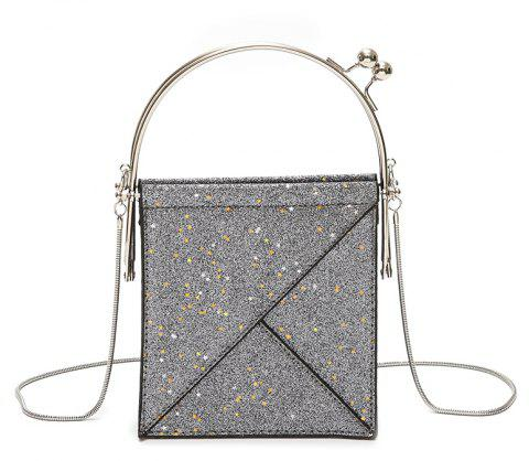 Sequins Hand Shoulder Crossed Chains Small Party Bag - GRAY