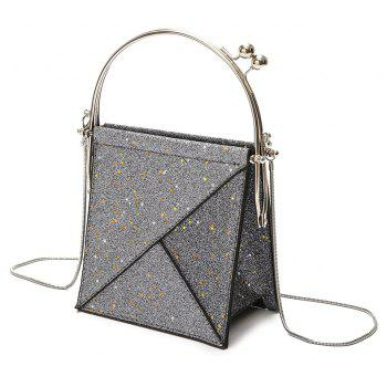 Paillettes à la main épaule Crossed Chains Small Party Bag - gris