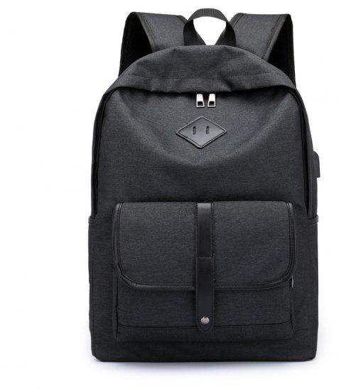Cloth Student Backpack Charging Computer Bag - BLACK