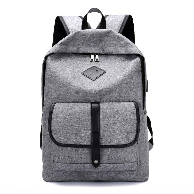 Cloth Student Backpack Charging Computer Bag - GRAY