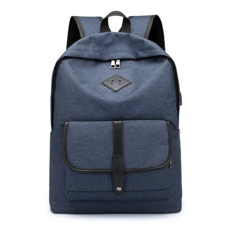 Cloth Student Backpack Charging Computer Bag - BLUE