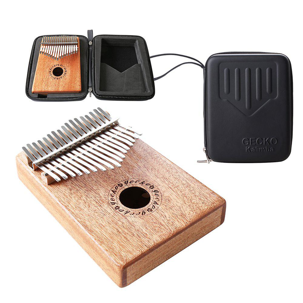 GECKO Mbira Sanza 17 Keys Thumb Piano with Kalimba BOX and Musical Notation - COOKIE BROWN
