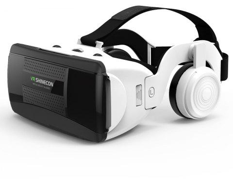 SHINECON New 3D Virtual Reality VR Glasses Come with HiFi Headphone - WHITE