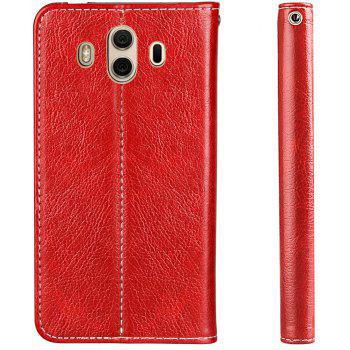For Huawei Mate 10 Business Leather Case Magnetic Closure Wallet Stand Cover - RED