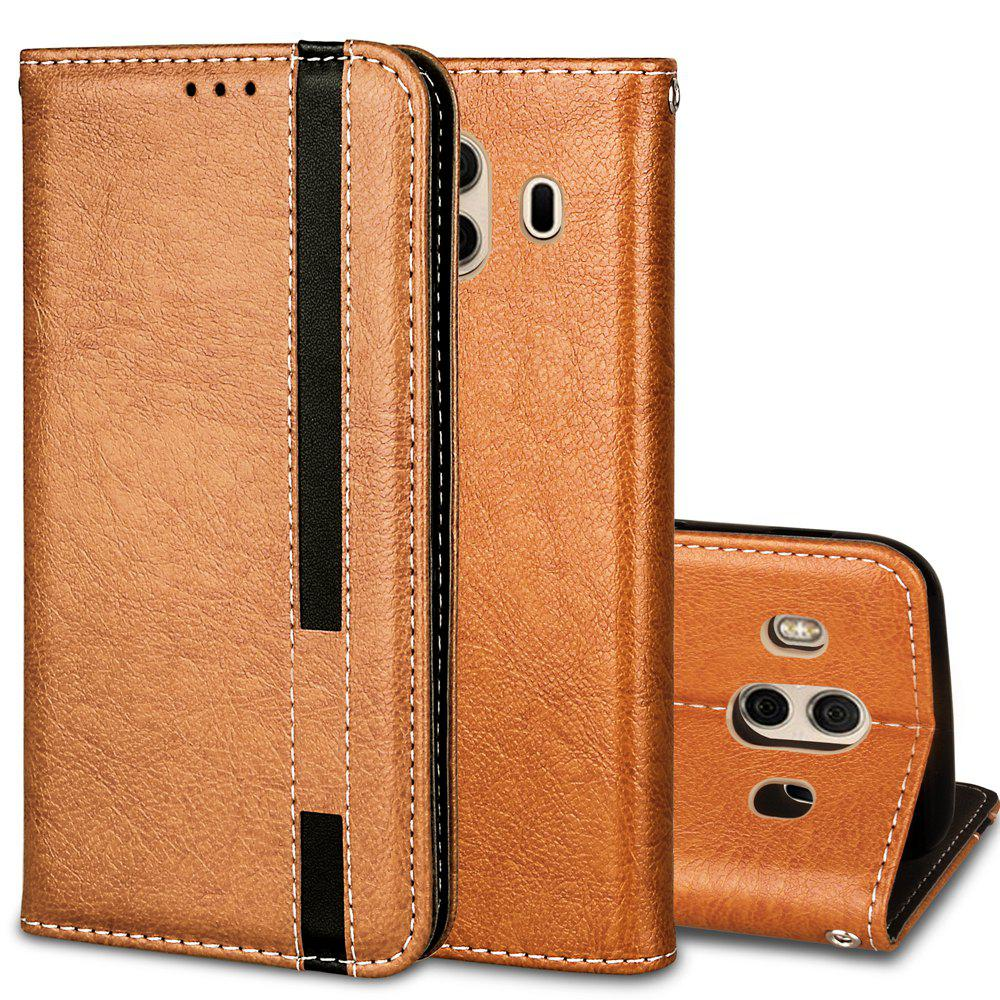 For Huawei Mate 10 Business Leather Case Magnetic Closure Wallet Stand Cover - GOLDEN BROWN
