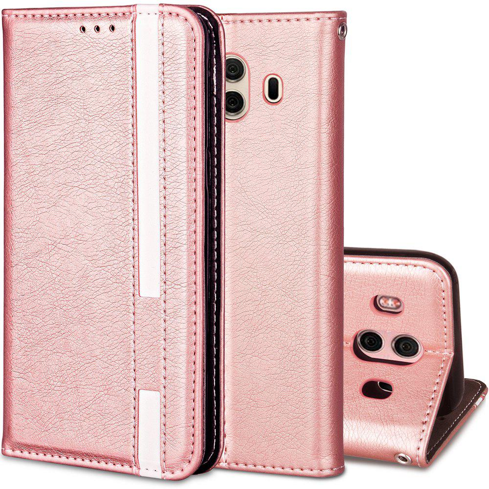 For Huawei Mate 10 Business Leather Case Magnetic Closure Wallet Stand Cover - PINK ROSE