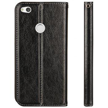 For Huawei P8 Lite 2017 Business Leather Case Magnetic Closure Wallet Stand Cover - BLACK