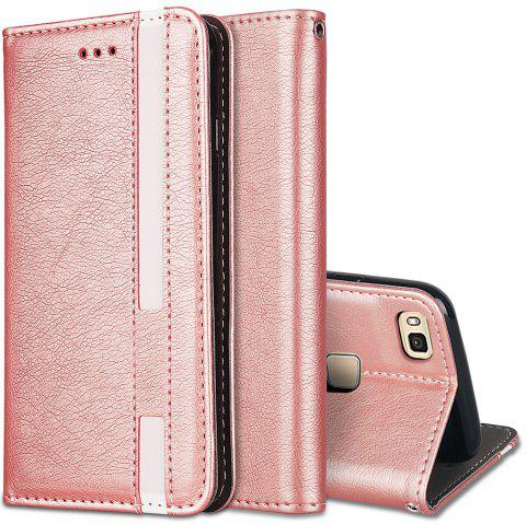 For Huawei P9 Lite Business Leather Case Magnetic Closure Wallet Stand Cover - ROSE