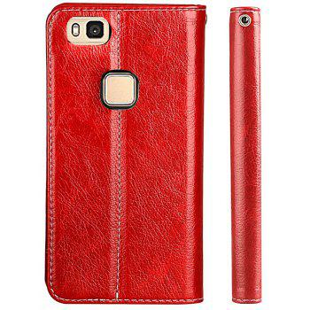 For Huawei P9 Lite Business Leather Case Magnetic Closure Wallet Stand Cover - RED