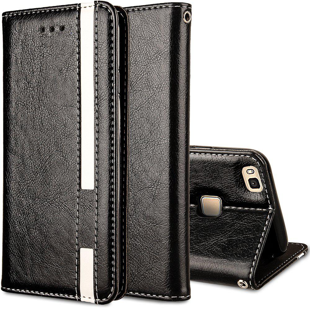For Huawei P9 Lite Business Leather Case Magnetic Closure Wallet Stand Cover - BLACK
