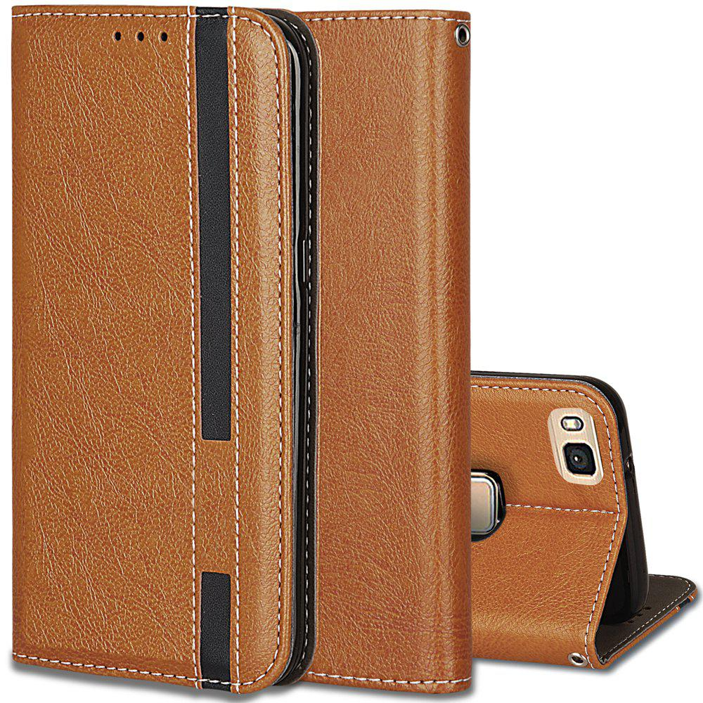 For Huawei P9 Lite Business Leather Case Magnetic Closure Wallet Stand Cover - ORANGE GOLD