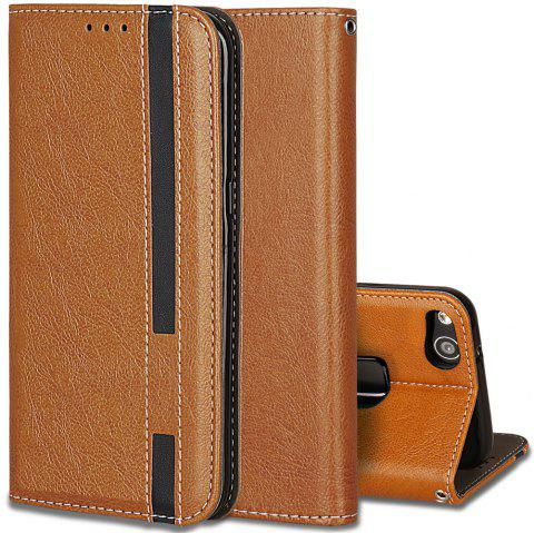 For Huawei P10 Lite Business Leather Case Magnetic Closure Wallet Stand Cover - ORANGE GOLD