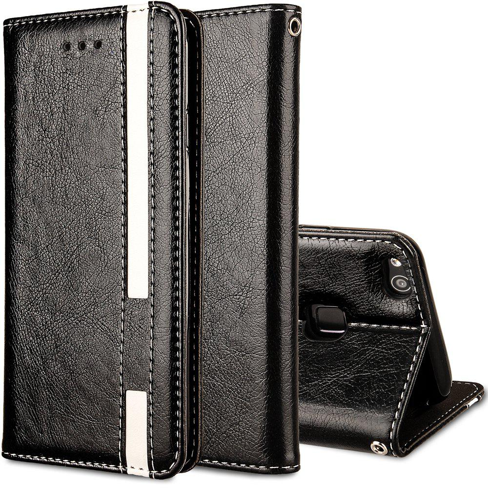 For Huawei P10 Lite Business Leather Case Magnetic Closure Wallet Stand Cover - BLACK
