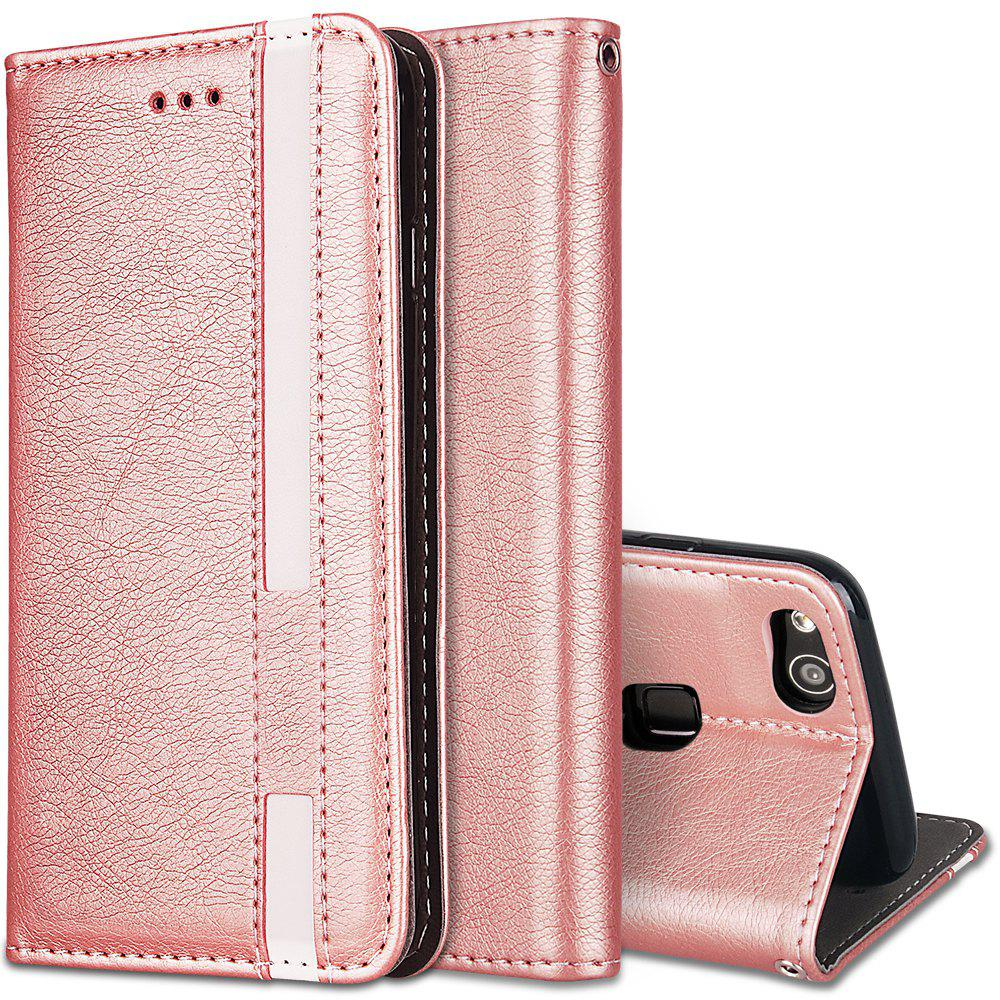 For Huawei P10 Lite Business Leather Case Magnetic Closure Wallet Stand Cover - ROSE