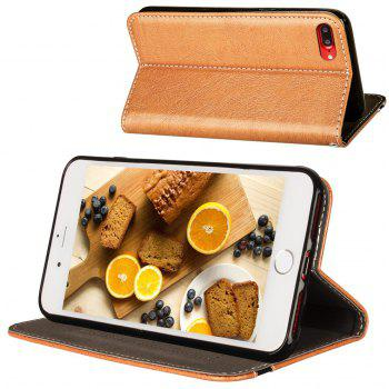 For iPhone 7 Plus / 8 Plus Business Leather Case Magnetic Closure Wallet Stand Cover - ORANGE GOLD