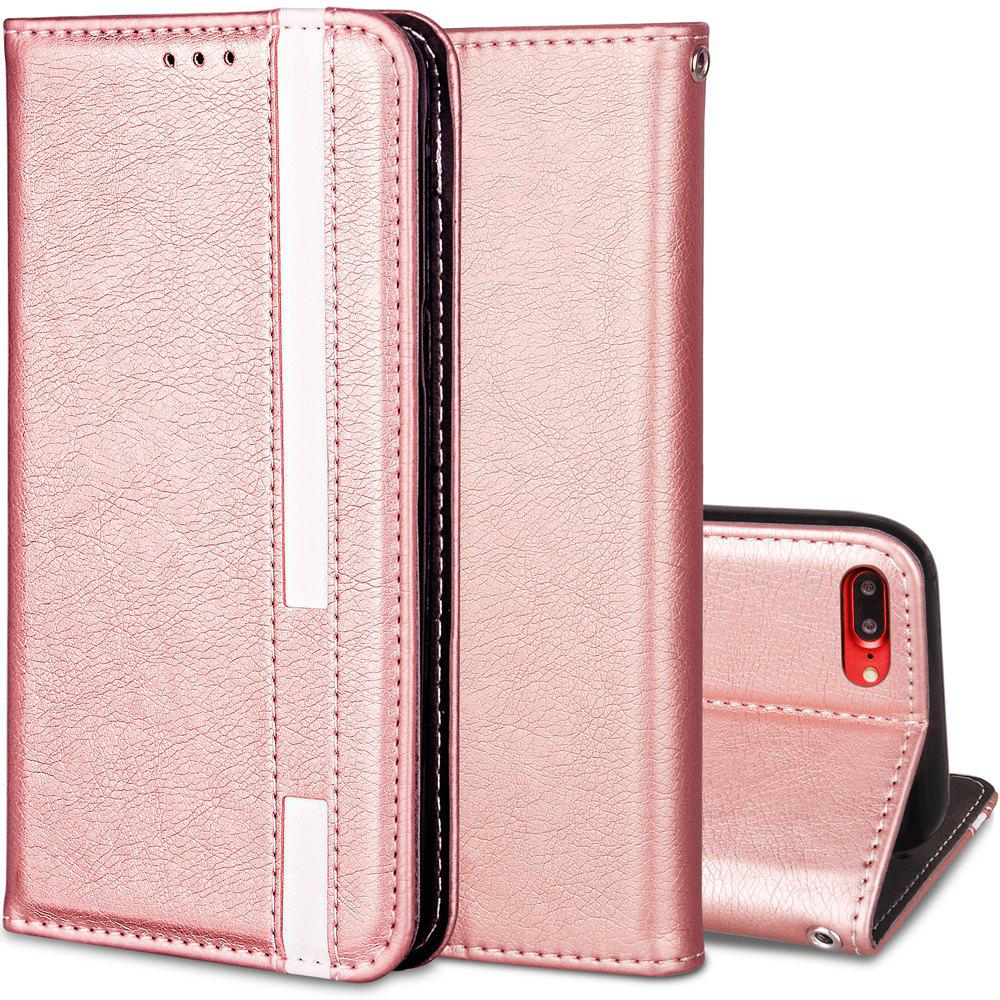 For iPhone 7 Plus / 8 Plus Business Leather Case Magnetic Closure Wallet Stand Cover - ROSE