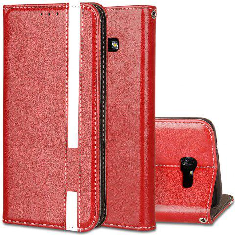 For Samsung Galaxy A7 2017 Business Leather Case Magnetic Closure Wallet Stand Cover - RED