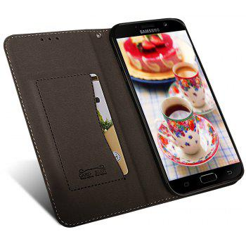 For Samsung Galaxy A7 2017 Business Leather Case Magnetic Closure Wallet Stand Cover - BLACK