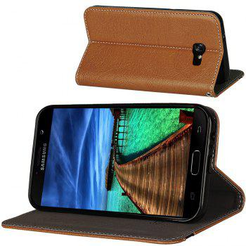 For Samsung Galaxy A7 2017 Business Leather Case Magnetic Closure Wallet Stand Cover - ORANGE GOLD