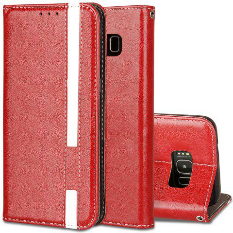 For Samsung Galaxy S8 Business Leather Case Magnetic Closure Wallet Stand Cover - RED