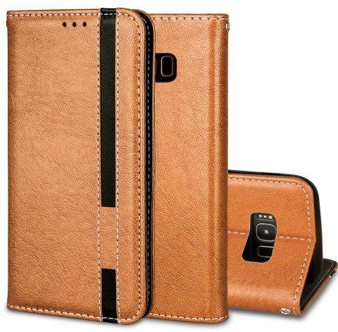 For Samsung Galaxy S8 Business Leather Case Magnetic Closure Wallet Stand Cover - ORANGE GOLD