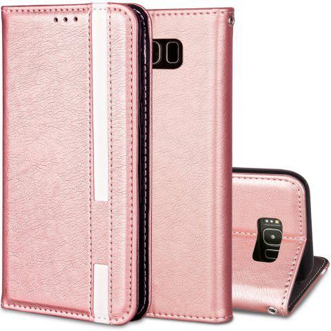 For Samsung Galaxy S8 Business Leather Case Magnetic Closure Wallet Stand Cover - ROSE