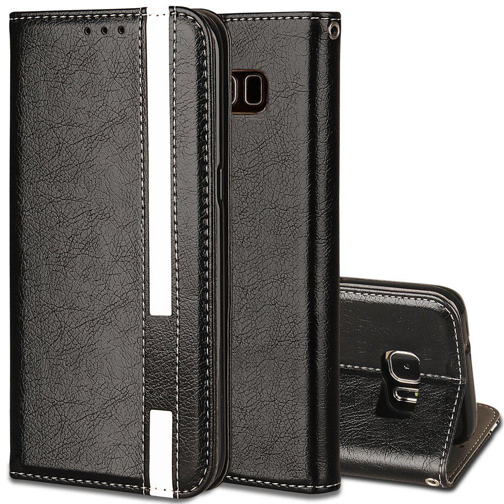 For Samsung Galaxy S8 Business Leather Case Magnetic Closure Wallet Stand Cover - BLACK