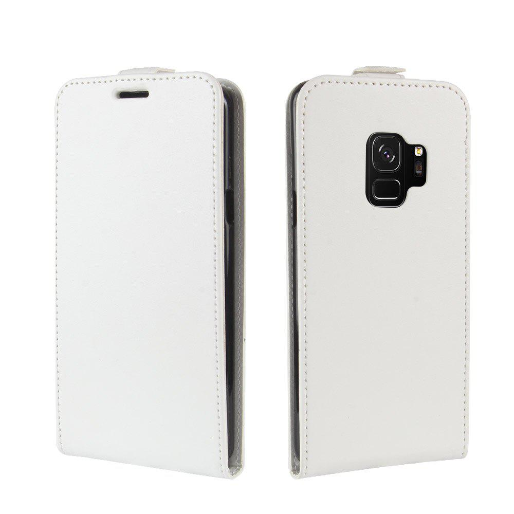 Durable Crazy Horse Pattern Up and Down Style Flip Buckle PU Leather Case for Samsung Galaxy S9 - WHITE