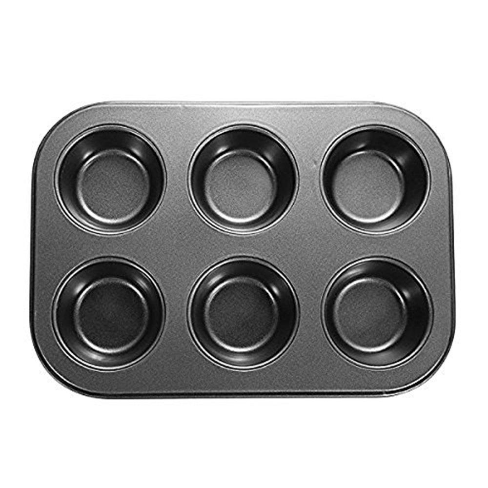 6 Hole Round Shape Cupcake Pan Nonstick Muffin Bakeware Pastry Mold - BLACK