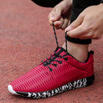 ZEACAVA Men's New Running  Breathable Sneakers Outdoor Sport Shoes - RED 46