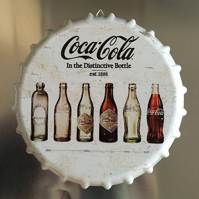 Vintage Style Beer Bottle Cover for Cafe Bar Restaurant Wall Decor Metal Art Poster - WHITE