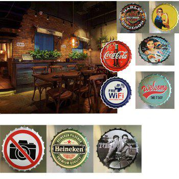 Retro Beer Bottle Cover Tin Metal Sign Poster for Cafe Bar Restaurant Wall Decor - WHITE