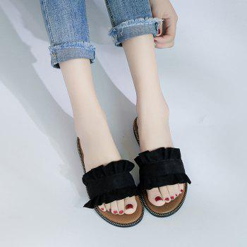 Summer New Flat Outside Wear Comfortable Non-slip Cool Slippers - BLACK 36