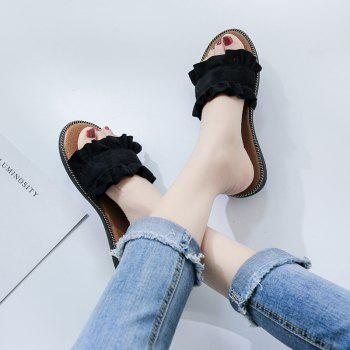 Summer New Flat Outside Wear Comfortable Non-slip Cool Slippers - BLACK 37