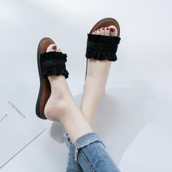 Summer New Flat Outside Wear Comfortable Non-slip Cool Slippers - BLACK 38