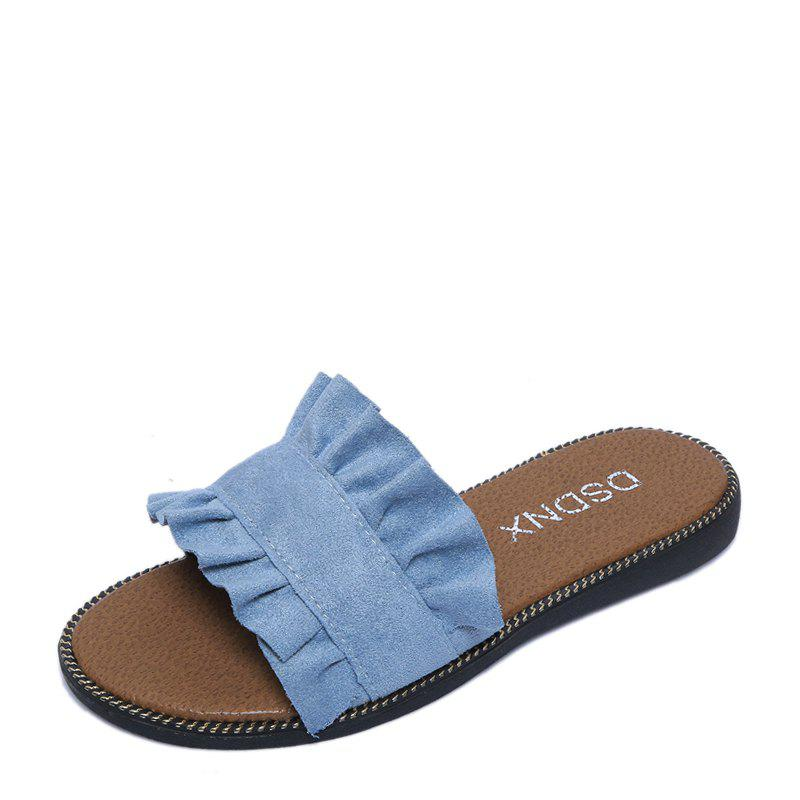 Summer New Flat Outside Wear Comfortable Non-slip Cool Slippers - OCEAN BLUE 36