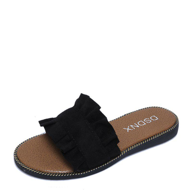 Summer New Flat Outside Wear Comfortable Non-slip Cool Slippers - BLACK 35