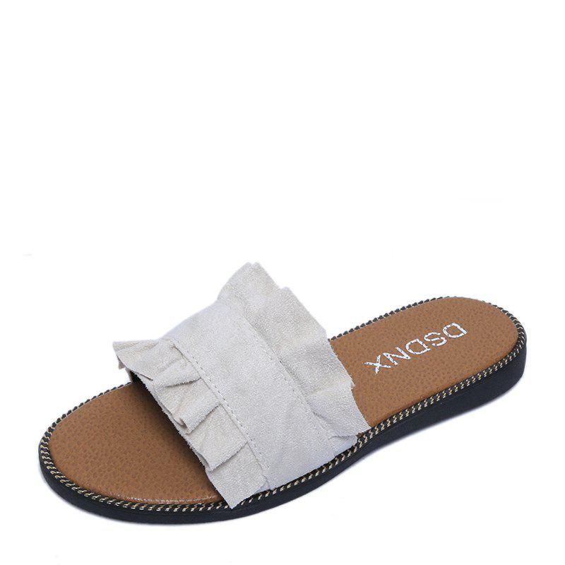 Summer New Flat Outside Wear Comfortable Non-slip Cool Slippers - BEIGE 39