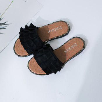 New 2018 Joker Outside Wear Lace A Word Cool Slippers - BLACK 37