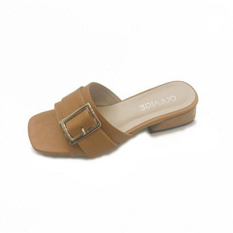 Metal Decorative All-match Rough Slippers - YELLOW 36