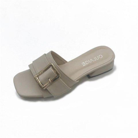 Metal Decorative All-match Rough Slippers - GRAY 36
