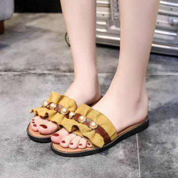 Flat Bottomed Flowers and Pearls Slippers - YELLOW 37