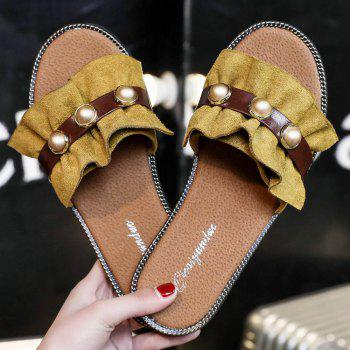 Flat Bottomed Flowers and Pearls Slippers - YELLOW 38
