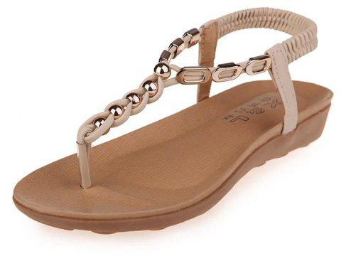 Flat Bottom of Students' Sandals with Pinch Toe - BEIGE 38