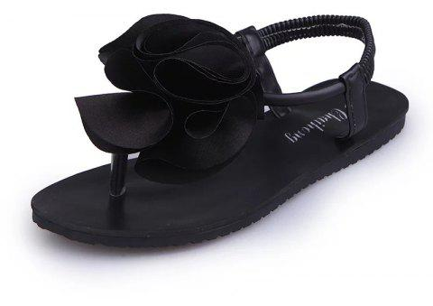 Flat Bottomed Toe Flower Beach Shoes - BLACK 37