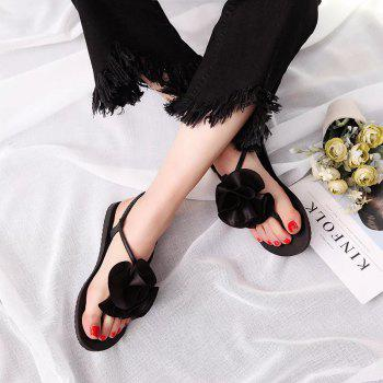 Flat Bottomed Toe Flower Beach Shoes - BLACK 39