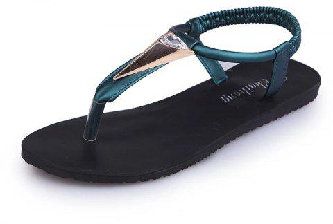 Fashion Water Drill Flat Bottomed Beach Shoes - GREEN 39