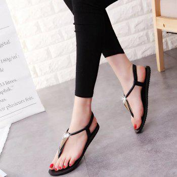 Fashion Water Drill Flat Bottomed Beach Shoes - BLACK 39