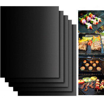 Reusable BBQ Grill Mat Non Stick Liners Oven Grill Foil Barbecue - BLACK 33X40CM
