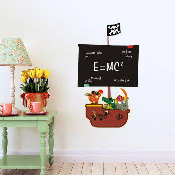 DSU Teaching Blackboard Writing Pirate Ship Painting Can Remove Office Creative Wall Stickers - multicolor A 45X60CM